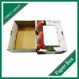 Caixa de papel da cereja com o indicador plástico do PVC