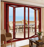 Puertas de acordión de aluminio de la puerta deslizante del marco del metal del color de madera