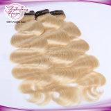 De 613 pacotes do cabelo humano do russo do dobro da trama tecelagem loura do cabelo da onda do corpo de Remy não