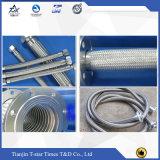 Manguito flexible del metal del tubo del extractor del acero inoxidable con las trenzas y el borde dobles