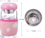La botella de cristal de la taza de la historieta de la manera con té prolifera rápidamente taza encantadora separada PUNTO de los niños con el conjunto modificado para requisitos particulares taza del Portable