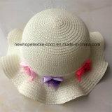 100% de papel Sombrero de paja, estilo de Falbala de la manera con la flor de la decoración de la Infancia