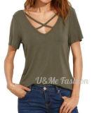 T-shirts sexy V de collet profond de la mode pour l'habillement de femmes