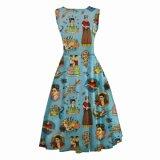 Платья лимона Frida флористической печати безрукавный вскользь причудливый для девушок