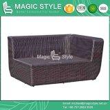 Jogo do sofá do jardim com o sofá do canto do Rattan do coxim ajustado (estilo mágico)