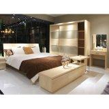 Grano di legno all'ingrosso e guardaroba di vetro dei portelli scorrevoli per la camera da letto