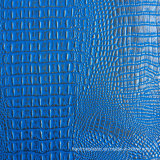 青い銀製ののどのワニの革
