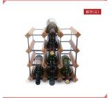 Racking de madeira do armazenamento do pinho de 12 frascos com carrinhos do presente do Natal da parte do metal