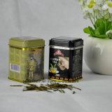 Pequeño encargo cuadrado del metal caja de la lata de té con diferentes diseños Flavor