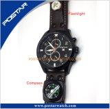 Het Polshorloge van de Sport van de chronograaf met de Functie van het Kompas van het Flitslicht