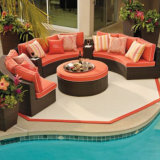 Outdoor Garden Patio Rattan Wicker Furniture Corner Sofa Set com Footstool