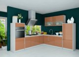 Gabinetes de cozinha de madeira da laca lustrosa elevada em forma de L com gabinetes de parede