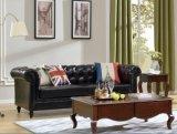Sofá de couro usado retro de confiança e confortável de Chesterfield