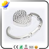 Gancho de leva colorido y hermoso Diamante del bolso de la aleación del cinc del metal para los regalos de Promoyional