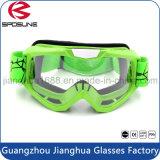 Seguridad verde de moda del marco que compite con anteojos de la motocicleta de la prueba del polvo de la resistencia de impacto de la espuma de los anteojos del motocrós