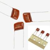 Condensador metalizado Mkt-Cl21 de la película de poliester para TV 0.22UF +-10% Tmcf03