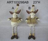 Oscilar rena equipada com pernas com revestimentos e os chifres feitos malha da baga
