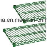 4개의 층 연결되는 S 훅을%s 가진 녹색 에폭시 철사 선반