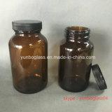 Bernsteinfarbige Glasflasche für Tablette mit breitem Mund