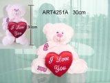 Het gelukkige Roze van de Pluche van de Verjaardag draagt met het Hart van de Valentijnskaart