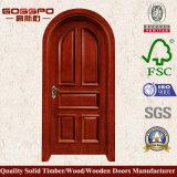 Porte arquée intérieure ronde en bois solide première (GSP2-037)