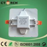 Eficiência elevada quadrada plástica 6W de lâmpada de painel do diodo emissor de luz