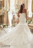 サイズの思いがけないビーズのMoriリーの人魚またはトランペットの広がりのトレインの花嫁のウェディングドレス(夢100083)とストラップレスのハンドメイド