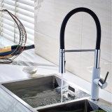 Robinet en laiton de bassin de cuisine de chrome blanc