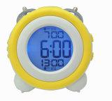 아이들을%s 2 경보를 가진 파란 분홍색 역광선 디지털 원형 시계