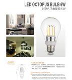 Lumière d'ampoule élevée du filament DEL d'Edison de poulpe du lumen E27 E26 B22 6W 8W