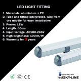 los 60cm 18W Stip Covered T8 LED Tube Light Fitting