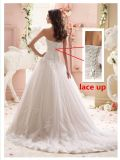 A - linha vestido de casamento nupcial A130 de Tulle do laço do querido do vestido de casamento