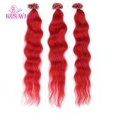 Extensões loucas desenhadas dobro do cabelo da queratina da cor do cabelo do prego da ponta da classe U das perucas 6A do K.S