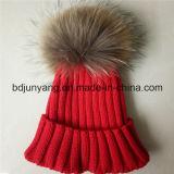 アクリル100%安い毛皮POM POMビーニーニット帽子