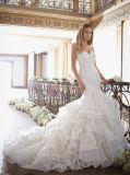 0080 Mermaid/платье венчания Trumpet с Ruffled мантией нижнего шнурка цвета слоновой кости поезда Шампань Bridal