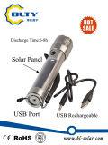 torche actionnée solaire de lampe-torche de 3W DEL avec le câble usb rechargeable