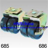 Schwarze Gummidoppelrad-Schwenker-Verschluss-Stamm-Oberseite-Fußrolle