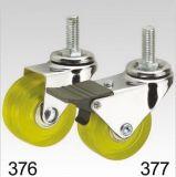 Gelbe Belüftung-Rad-Schwenker-Gewinde-Oberseite-Fußrolle
