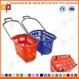 Panier à provisions en plastique de supermarché de mode avec les roues (ZHb155)