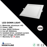 세륨 & RoHS Passed 18W Square LED Panel Light Silver Painted