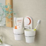 Suction Cup를 가진 Bathroom를 위한 두 배 Cup Silicone Toothbrush Holder