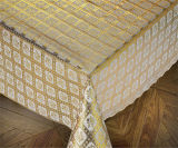 diseños de los manteles del cordón del oro del PVC del 137cm nuevos