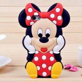Caixa feita sob encomenda bonito do telefone do silicone de Micky e de Minnie