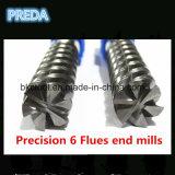 Cortadores elevados da precisão das flautas do ângulo de hélice 6