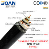 Cu/XLPE/Cts/PVC/Swa/PVC、Power Cable、19/33のKv、3/C (BS 6622)