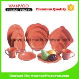 El color anaranjado al por mayor esmaltó el conjunto del servicio de mesa para el banquete de la cocina