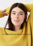 Signora Oversized Cotton Sweatershirt dal disegno di lavoro a maglia (W17-785)