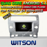 Carro DVD GPS do Android 5.1 de Witson para Citroen C4 2004-2012 com sustentação do Internet DVR da ROM WiFi 3G do chipset 1080P 16g (A5691)