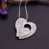 Glänzendes Gemstone Silver Heart Shape Pendants Charm für Girls