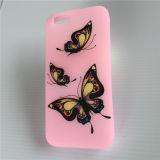 Случай телефона пинка силикона бабочки высокого качества напечатанный таможней